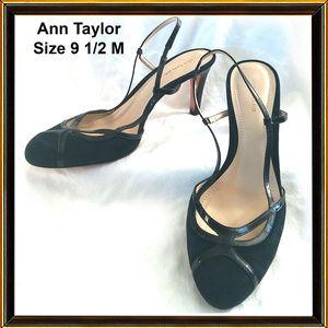 ANN TAYLOR - Black Sling-back Heels - SIZE 9 1/2M